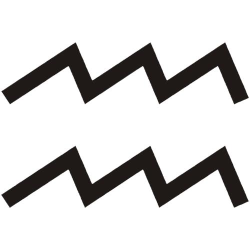 Símbolo en blanco y negro del signo zodiacal Acuario del horóscopo