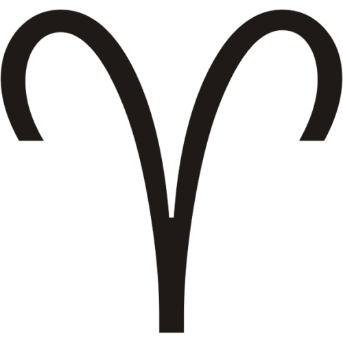 Símbolo en blanco y negro del signo zodiacal Aries del horóscopo