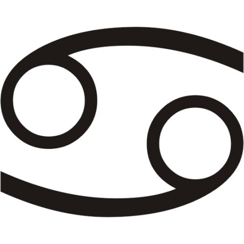 Símbolo en blanco y negro del signo zodiacal Cáncer del horóscopo