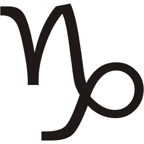 Símbolo en blanco y negro del signo zodiacal Capricornio del horóscopo
