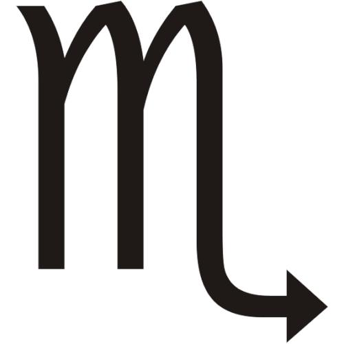 Símbolo en blanco y negro del signo zodiacal Escorpión del horóscopo
