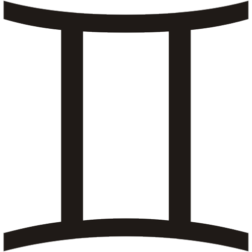 Símbolo en blanco y negro del signo zodiacal Géminis del horóscopo
