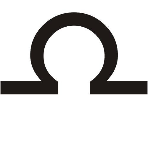 Símbolo en blanco y negro del signo zodiacal Libra del horóscopo