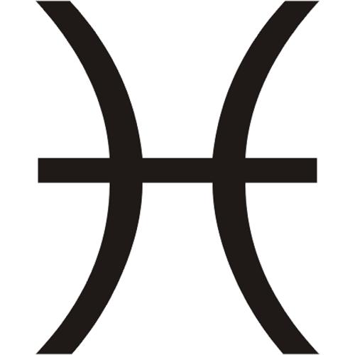 Símbolo en blanco y negro del signo zodiacal Piscis del horóscopo