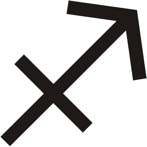 Símbolo en blanco y negro del signo zodiacal Sagitario del horóscopo