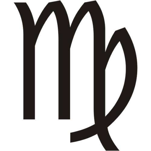 Símbolo en blanco y negro del signo zodiacal Virgo del horóscopo